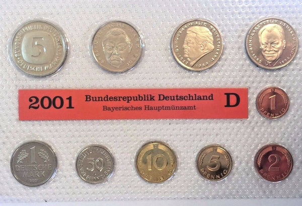 2001 D Germany Deutsche Mark 10 Coins Official Set München Mint Deutschland