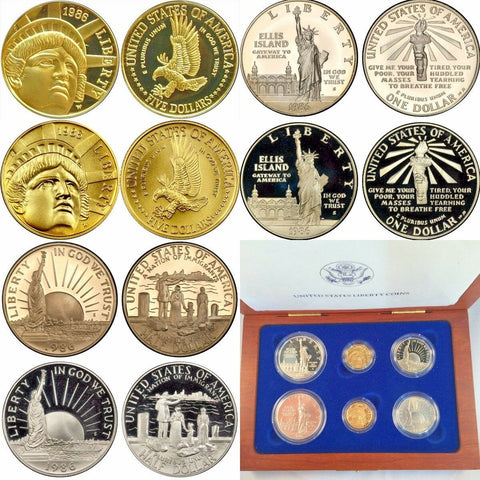 1986 Set 6 Gold Silver Coins Statue of Liberty $5 $1 $0.5 United States Box COA