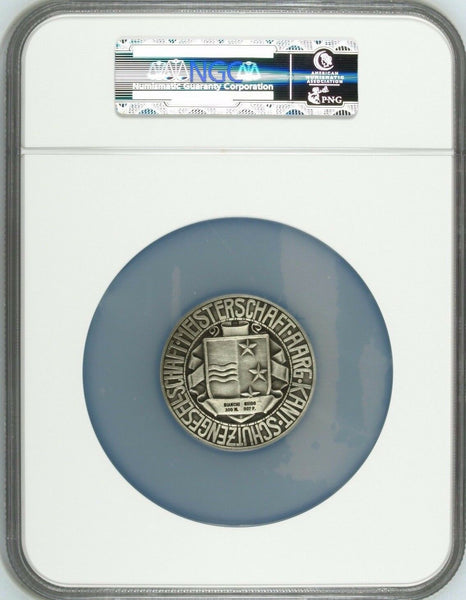 1920 Swiss Silver Shooting Medal Aargau R-62a Bianchi Guido Switzerland NGC MS63