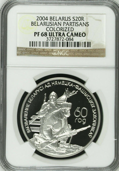 2004 Belarus Colorized Silver Coin 20 Roubles Partisans NGC PF68 Low Mintage