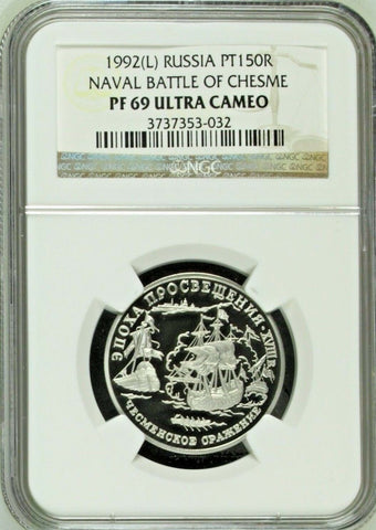 Russia 1992 Platinum 150 Roubles Naval Battle Chesme Ship NGC PF69 Mintage-3000