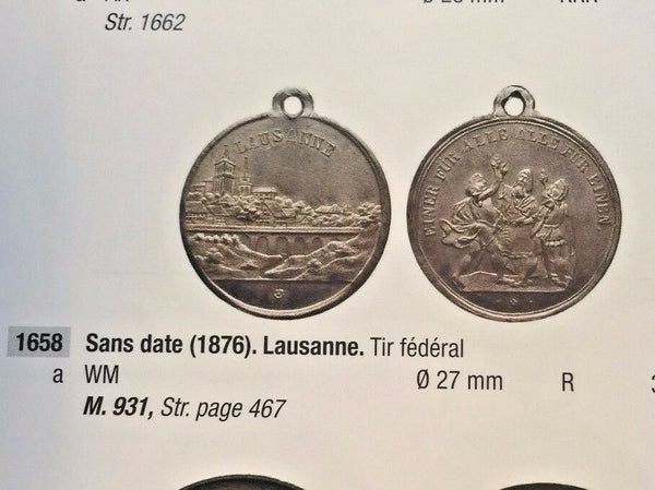 Rare Swiss 1876 Shooting Medal Vaud Lausanne R-1658a M-931 Switzerland