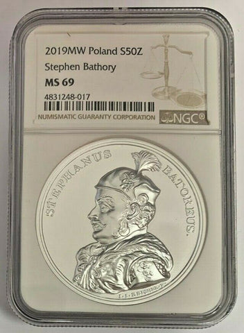 2019 Poland Silver 50 Zloty Stephen Bathory NGC MS69 Mintage-5,500