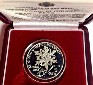 San Marino 2005 Silver 5€ Torino Olympic Games Snow Crystal Plumed Towers Italy