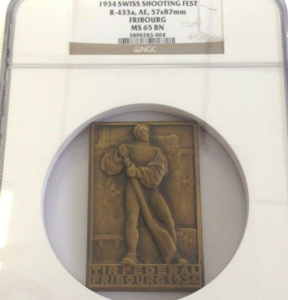 Swiss 1934 Shooting Medal Fribourg Bronze R-433a Rectangular NGC MS65 Low Mint.