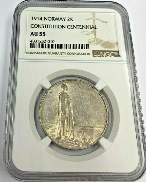 Norway 1914 Silver 2 Kroner 100th Anniversary of the Constitution NGC