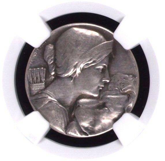 Very Rare Swiss Silver Shooting Medal 1909 Zurich Lion R-1801b Mintage-78 NGC