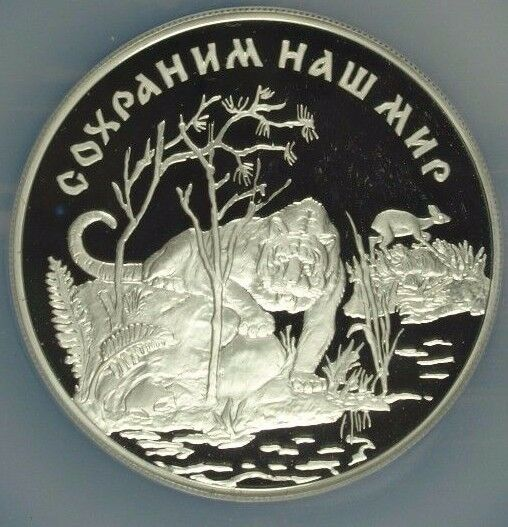 Russia 1996 L Silver Coin 25 Roubles Wildlife Amur Tiger NGC PF67 Low Mintage