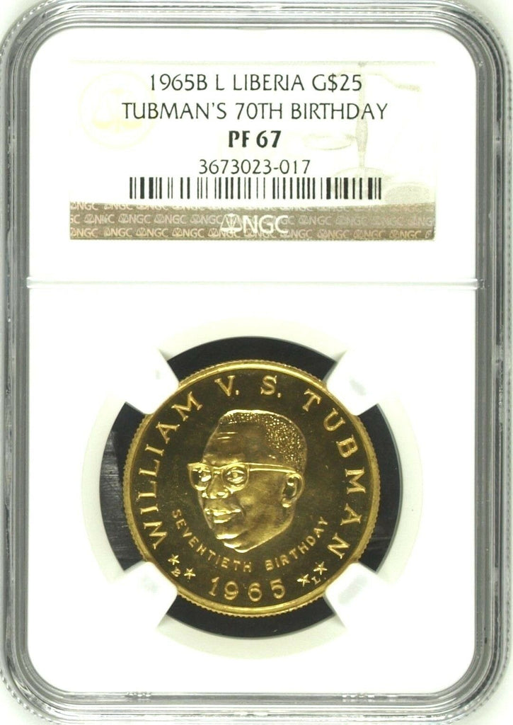 Rare Liberia 1965 Proof Gold $25 NGC PF67 William Tubman 70th Birth. Mintage-100