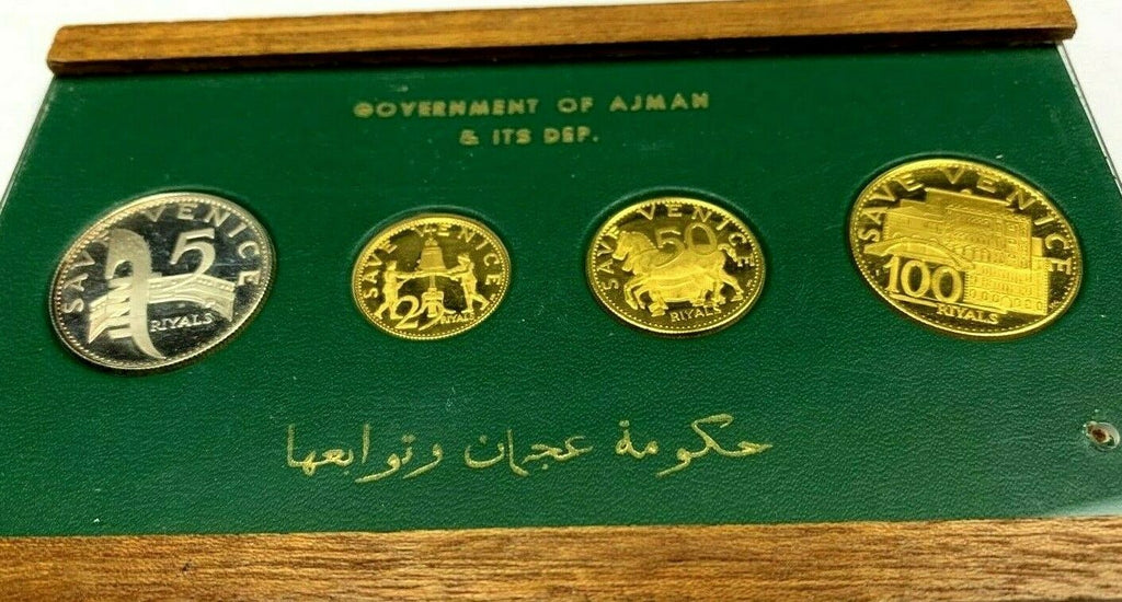 Ajman 1971 Gold Silver Set 100 50 25 5 Riyals UAE Rashid Save Venice Very Rare