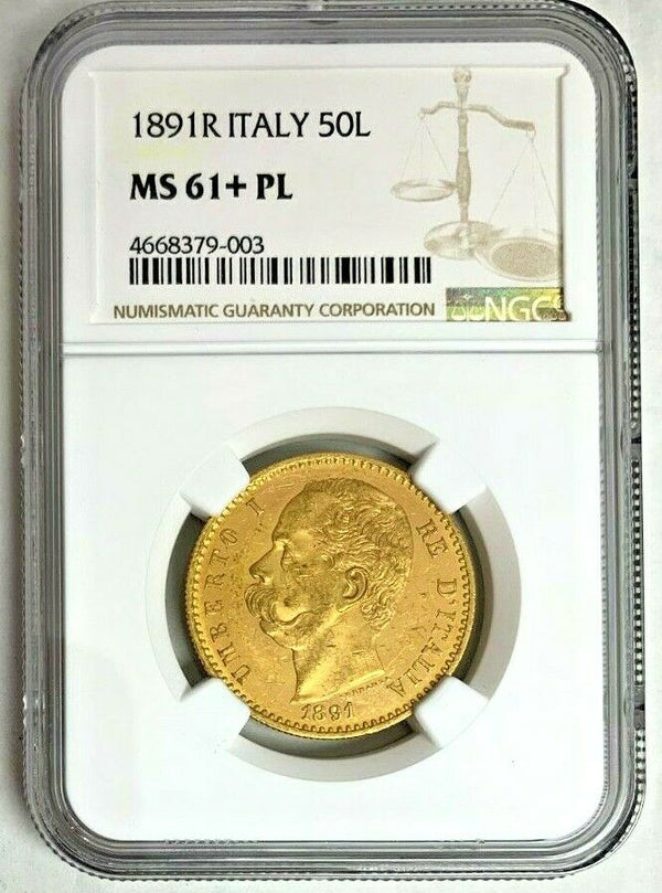 Very Rare 1891 Italy Gold Coin 50 Lire NGC MS61 King Umberto I Mintage-414 Rom