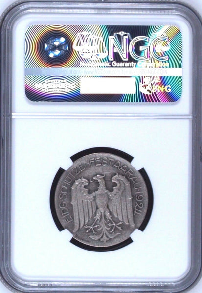 Swiss 1924 Silver Shooting Medal Aargau R-44a M-38 NGC MS65 Switzerland w Box