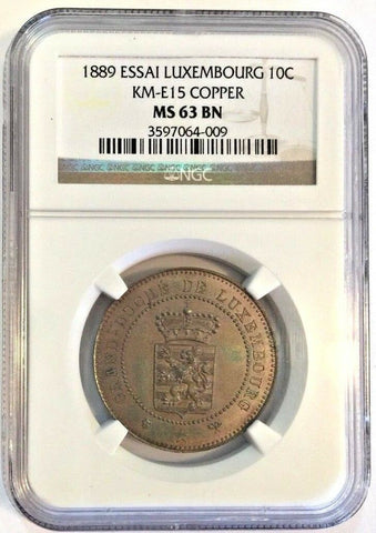 Extremely Rare Luxembourg 1889 Essai 10 Centimes NGC MS63 Mintage-100