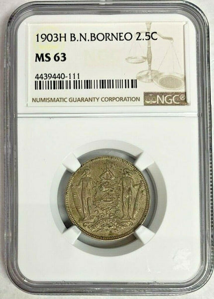 1903 H British North Borneo Copper-Nickel Coin 2.5 Cent NGC MS63