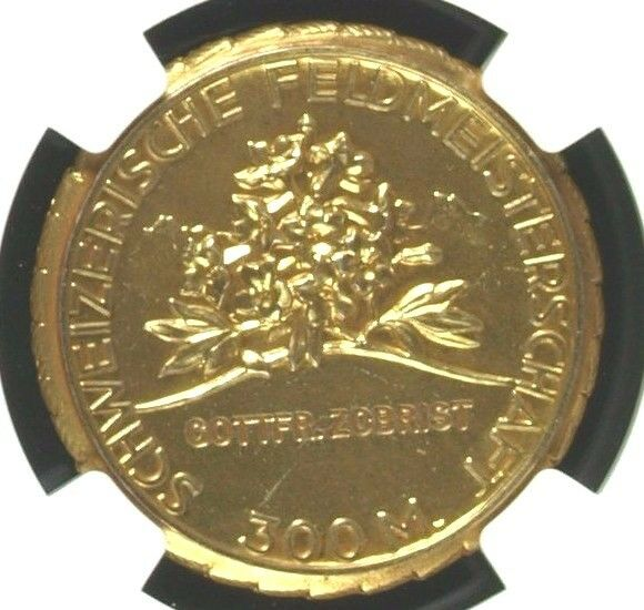 Swiss Shooting Medal Gold Plated Silver R-1979a NGC MS65 Switzerland