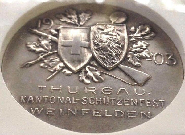 Rare Swiss 1903 Silver Shooting Medal Thurgau Helvetia R-1274a NGC MS63 Mint-400