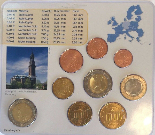 2008 J Germany Official Euro 9 Coins Set Special Edition Hamburg Deutschland