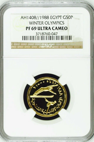 Extremely Rare Egypt 1408 1988 Gold 50 Piastres Olympics NGC PF69 Mintage-50