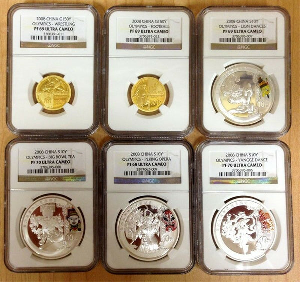 China 2008 Beijing Olympics Gold Silver Set 6 Coins Series III NGC PF68-70 Rare