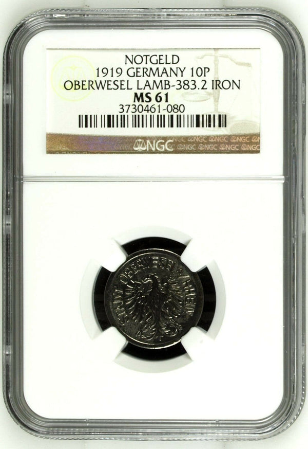 Rare 1919 Germany Notgeld 10 Pfennig Oberwesel Lamb-383.2 War Money NGC MS61