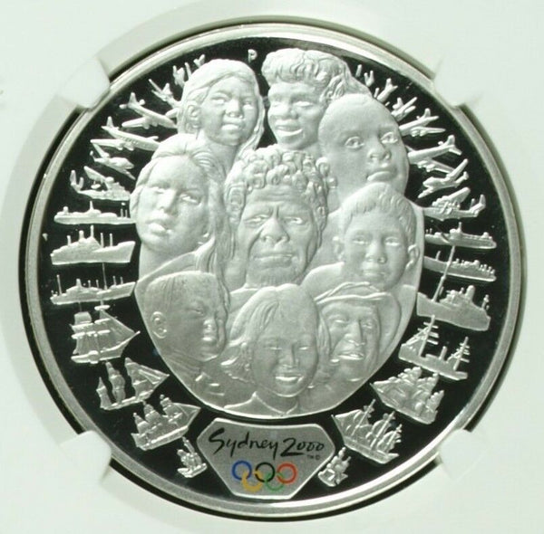 Australia 2000 Silver Colorized Coin $5 Olympic Sea Change Faces NGC PF69 Box