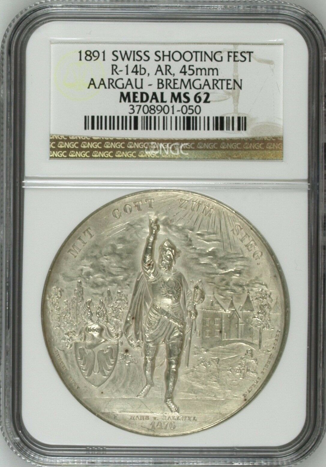 Swiss 1891 Silver Shooting Medal Aargau Bremgarten Switzerland R-14b NGC MS62