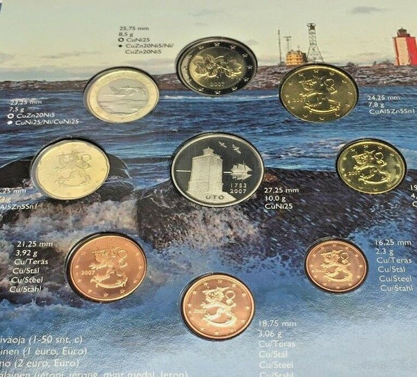 2007 Finland Euro Set 9 Coins Finnish Lighthouse Utö built in 1753 Version 1