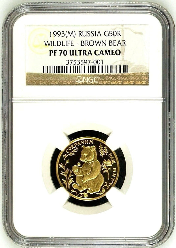 Very Rare Russia 1993 Gold 50 Rouble Wildlife Brown Bear Safe our World NGC PF70