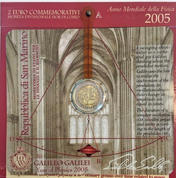 2005 San Marino 2€ Commemorative Coin Galileo Galilei 1564-1642