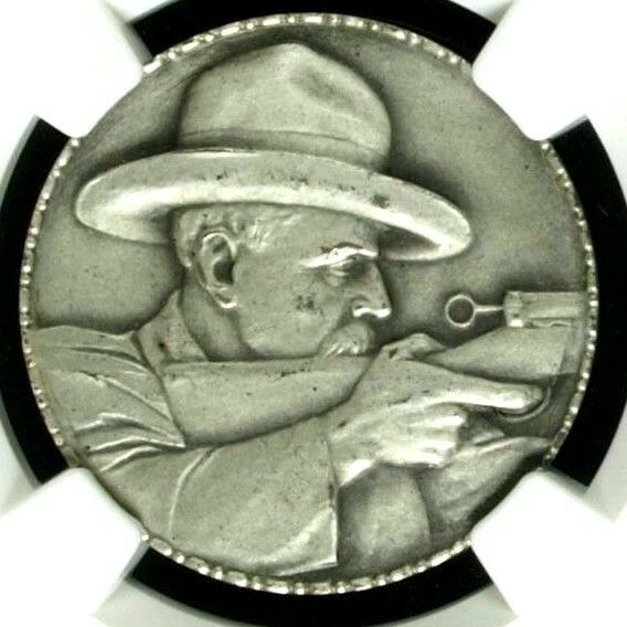 Swiss 1925 RARE Silver Medal Shooting Fest St. Gallen R-1199a NGC MS64