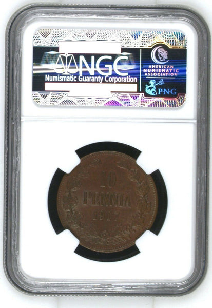 1917 Finland / Russia Civil War Issue 10 Pennia Nicholas II NGC MS 63