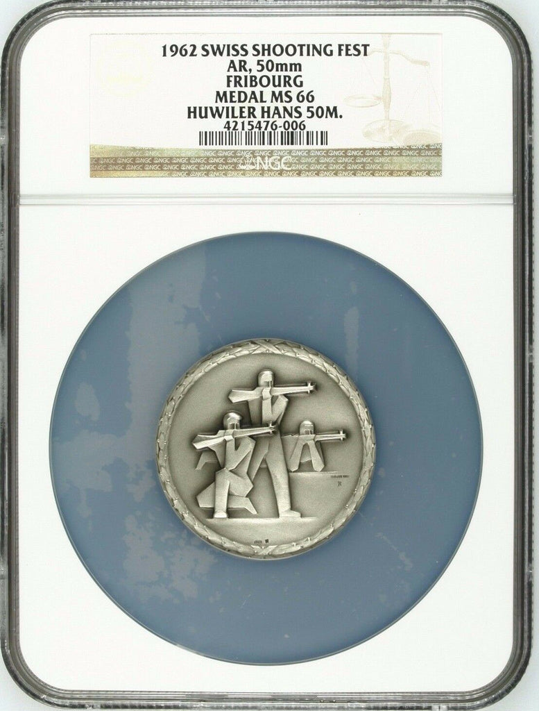 Swiss 1962 Silver Medal Shooting Festival Fribourg NGC MS66 Switzerland
