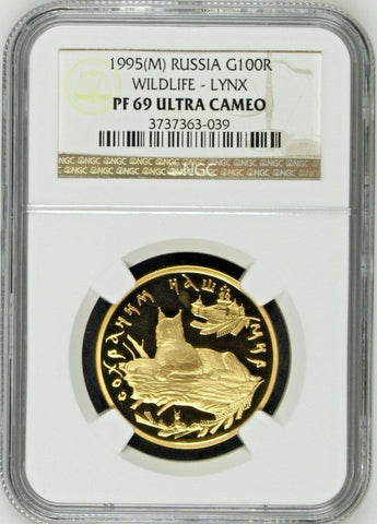Russia 1995 M Gold Coin 100 Roubles Lynx Wildlife Rare NGC PF69