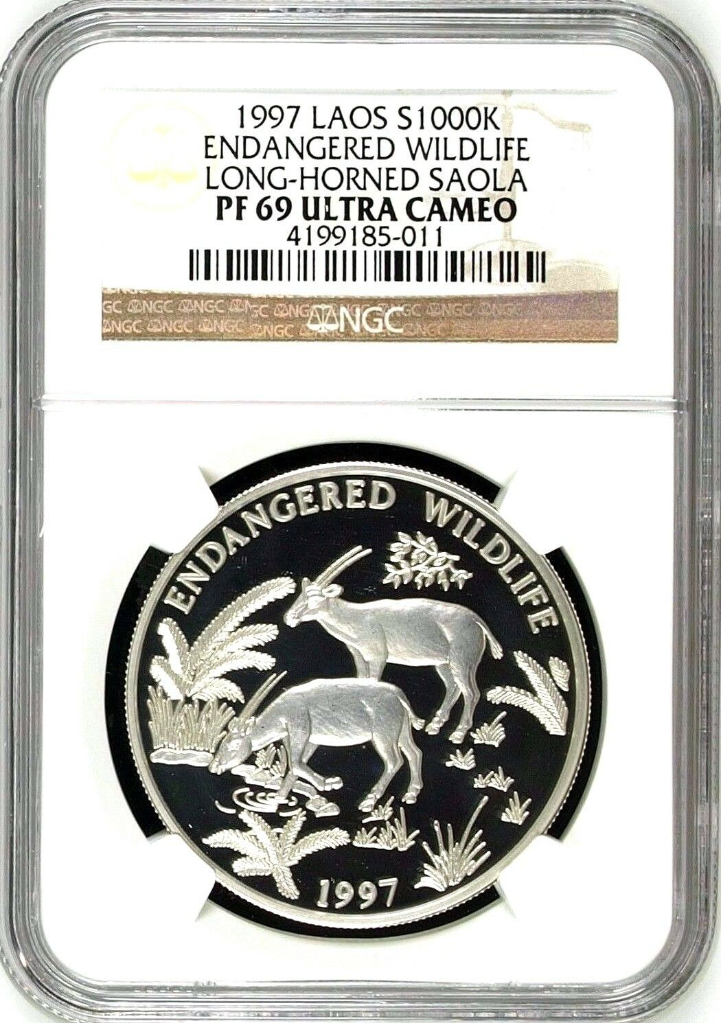 Laos 1997 Silver 1000 Kip Endangered Wildlife Long Horned Saola NGC PF69