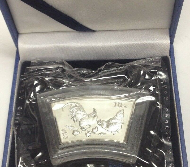 China 2005 fan-shaped 1 oz Silver Lunar Coin 10 Yuan Year of the Rooster Box