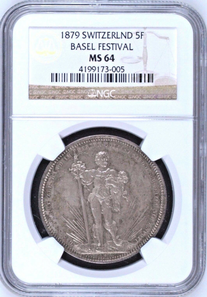 Swiss 1879 Silver Shooting Taler 5 Francs Medal Basel R-92b NGC MS64 Switzerland