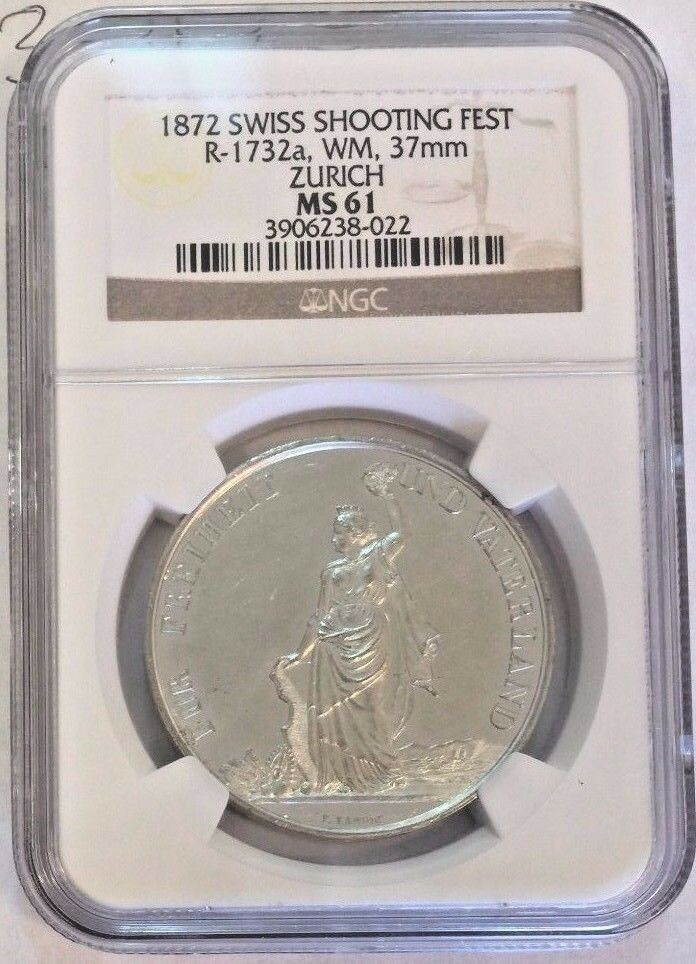 Rare Swiss 1892 Shooting Medal Zurich Helvetia R-1732a NGC MS61