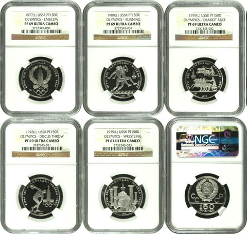 USSR 1977-1980 Platinum Set 5 coins 150 Roubles 1980 Olympics NGC PF69-67 Russia