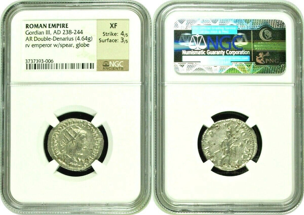 Roman Empire Gordian III AD 238-244 Double Denarius Hunter w spear globe NGC XF