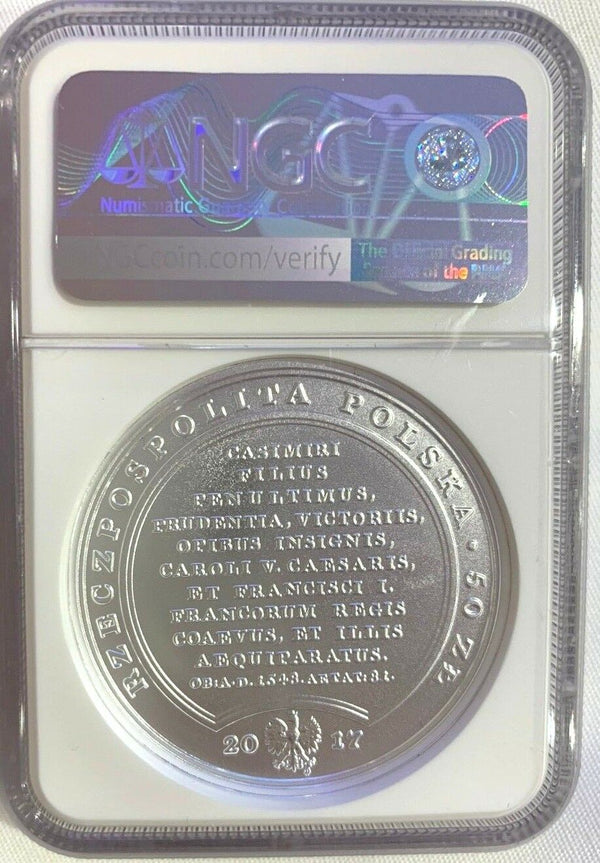 2017 Poland Silver 50 Zloty King Stanislaw August Sigismund the Elder NGC MS69