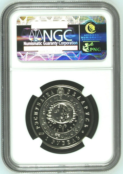 Belarus 2009 Copper-Nickel Rouble Aries Signs of the Zodiac NGC PF69 Low Mintage