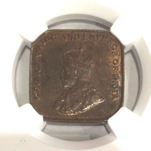 Straits Settlements 1920 Bronze Coin Cent George V KM32 Certified by NGC MS62