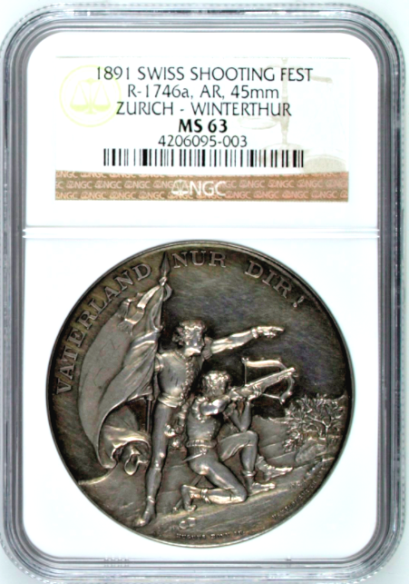 Swiss 1891 Silver Shooting Medal Zurich Winterthur R-1746a Mint-800 NGC MS63