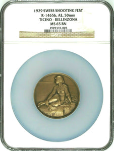 Swiss 1929 Bronze Shooting Medal NGC MS65 Ticino Bellinzona R-1465b Woman Box