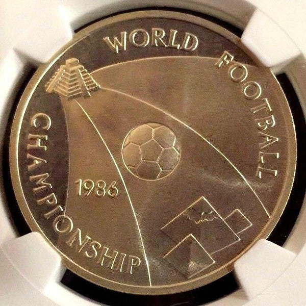 Egypt 1406 1986 Silver 5 Pounds Soccer Football Championship NGC PF67 Low Mint
