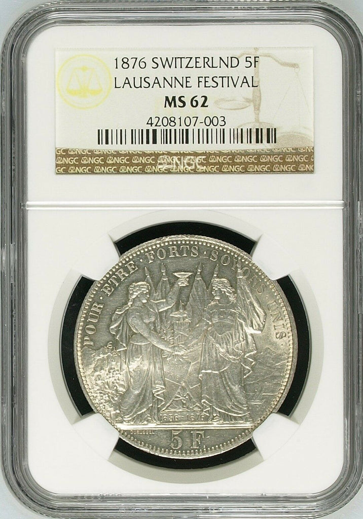 Swiss 1876 Silver Shooting Taler 5 Francs Lausanne Medal R-1560a NGC MS62