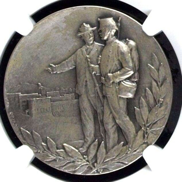 Rare Swiss 1903 Silver Shooting Medal Zurich Oerlikon R-1788a NGC MS63