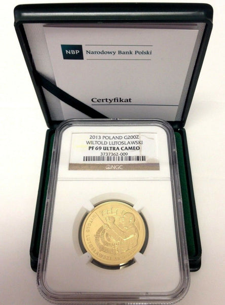Poland 2013 Gold 200 Zloty Composer Conductor Witold Lutoslawski NGC PF69 Rare