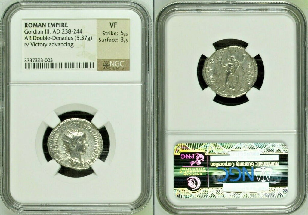 Roman Empire Gordian III AD238-244 AR Double Denarius Victory advancing NGC XF