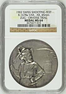 Swiss 1902 Silver Shooting Medal Zug Reverse Trial R-1678a One in the World NGC